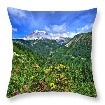 Mt. Rainier Through The Clouds  Throw Pillow
