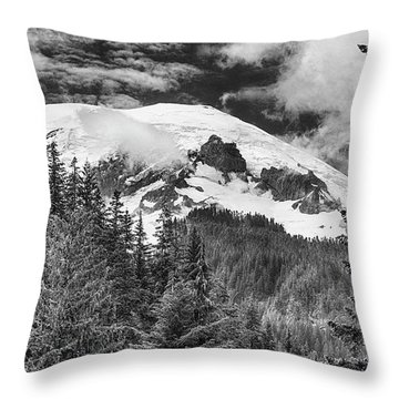 Throw Pillow featuring the photograph Mt Rainier View - Bw by Stephen Stookey