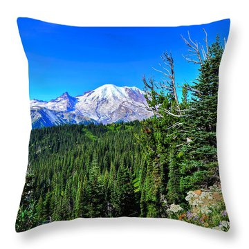 Mt. Rainier Wildflowers Throw Pillow