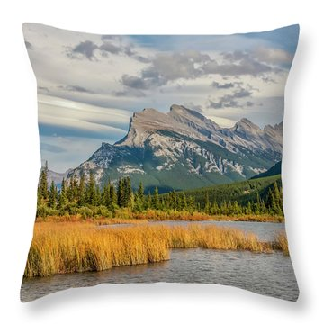 Throw Pillow featuring the photograph Mt. Rundle 2009 05 by Jim Dollar
