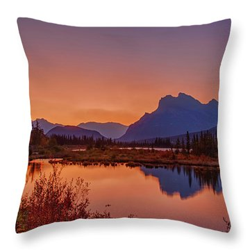Throw Pillow featuring the photograph Mt. Rundle 2009 11 by Jim Dollar