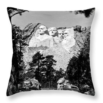 Mt Rushmore Throw Pillow by American School