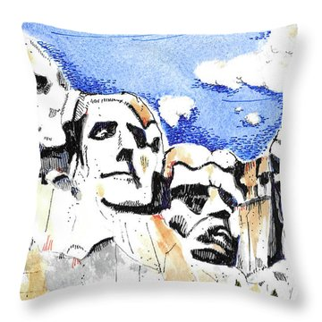 Throw Pillow featuring the painting Mt. Rushmore, Usa by Terry Banderas
