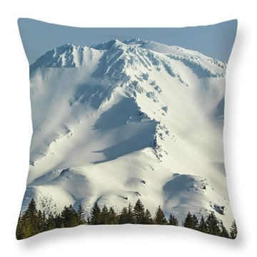 Throw Pillow featuring the photograph Mt Shasta In Early Morning Light by Marc Crumpler