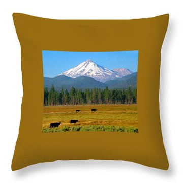 Mt. Shasta Morning Throw Pillow by Betty Buller Whitehead