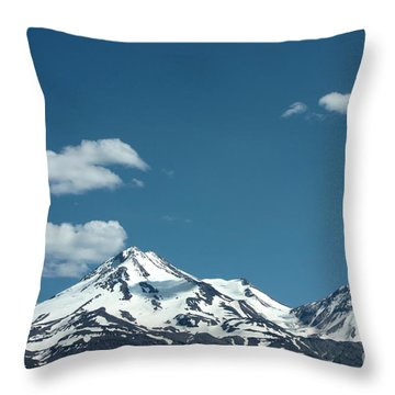 Mt Shasta With Heart-shaped Cloud Throw Pillow by Carol Groenen