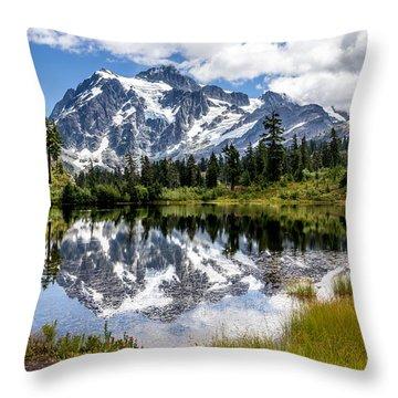 Mt Shuksan On Picture Lake 1 Throw Pillow