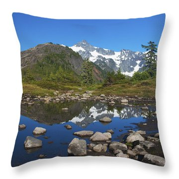 Mt. Shuksan Puddle Reflection Throw Pillow by Scott Cunningham