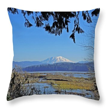 Mt St Helens Throw Pillow by Jack Moskovita