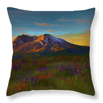Mt. St. Helens Sunrise Throw Pillow