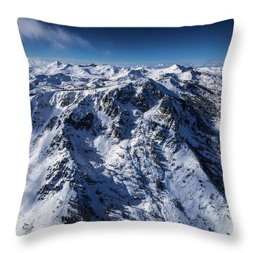 Mt Tallac Winter Aerial - Brad Scott Throw Pillow
