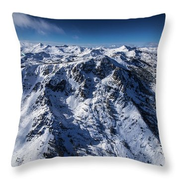 Mt Tallac Winter Aerial - Brad Scott Throw Pillow