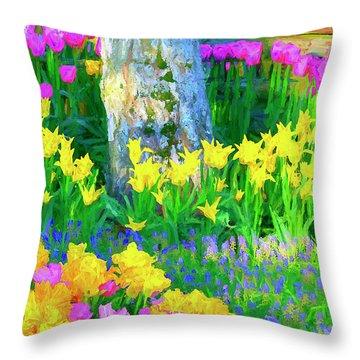 Mt Vernon Tulip Garden 1 Throw Pillow