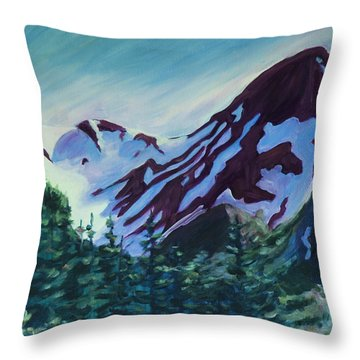Throw Pillow featuring the painting Mt.roberts Juneau Alaska by Yulia Kazansky