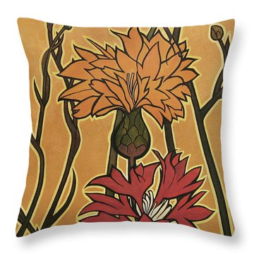 Mucha Ado About Flowers Throw Pillow by Carrie Jackson