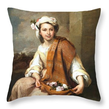 Muchacha Con Flores Throw Pillow by Pg Reproductions