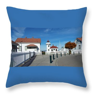 Muckilteo Lighthouse Throw Pillow by Judyann Matthews