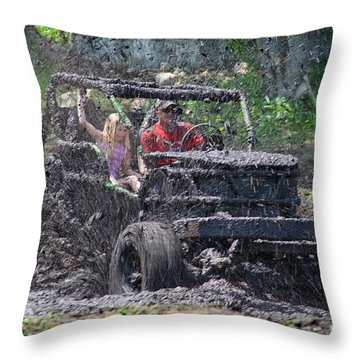 Mud Bogging Throw Pillow