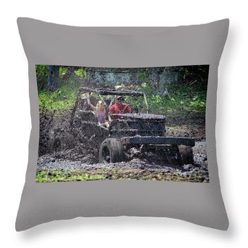 Throw Pillow featuring the photograph Mud Bogging by Mary Lee Dereske
