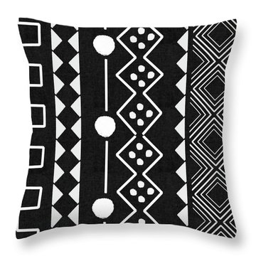 Mud Cloth 5- Art By Linda Woods Throw Pillow