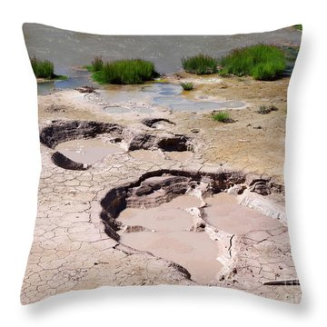 Mud Volcano Area In Yellowstone National Park Throw Pillow by Louise Heusinkveld