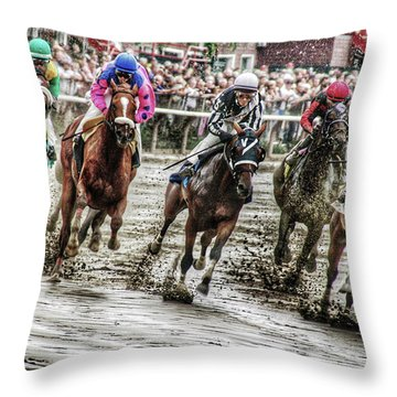 Mudders Throw Pillow