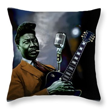 Throw Pillow featuring the mixed media Muddy Waters - Mick Jagger's Grandfather by Dan Haraga