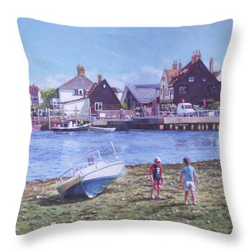 Mudeford Quay Christchurch From Hengistbury Head Throw Pillow