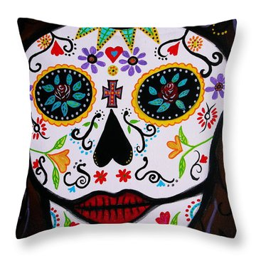 Throw Pillow featuring the painting Muertos by Pristine Cartera Turkus