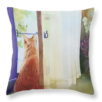 Muffin At Window Throw Pillow