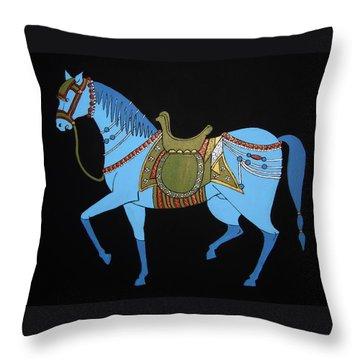Mughal Horse Throw Pillow