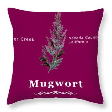Mugwort - White Text Throw Pillow