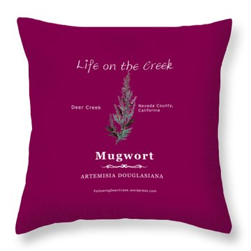 Mugwort - White Text Throw Pillow