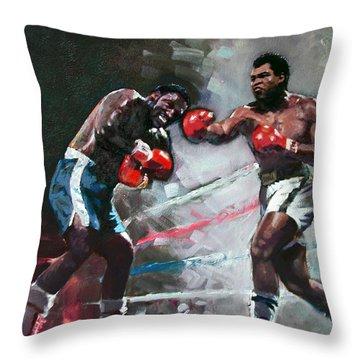 Muhammad Ali And Joe Frazier Throw Pillow by Ylli Haruni