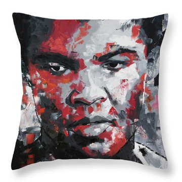 Throw Pillow featuring the painting Muhammad Ali II by Richard Day