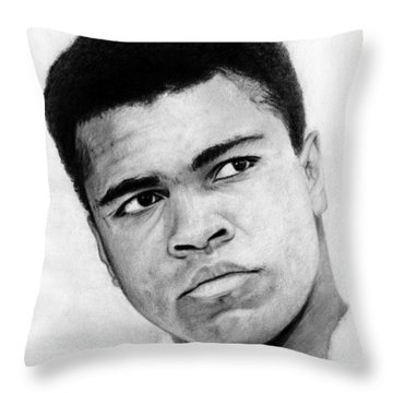 Muhammad Ali Pencil Drawing Throw Pillow