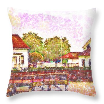 Throw Pillow featuring the digital art Mukilteo In Pointillism by Kirt Tisdale