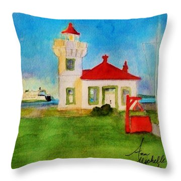 Mukilteo Lighthouse As The Sunsets Throw Pillow