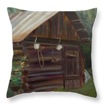 Throw Pillow featuring the painting Mulberry Farms Grainery by Donna Tuten