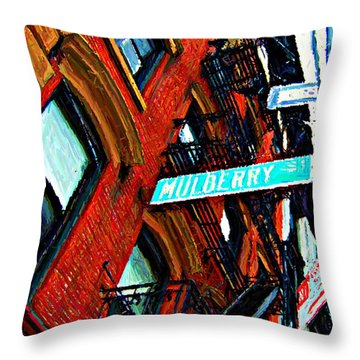 Mulberry Street Sketch Throw Pillow by Randy Aveille