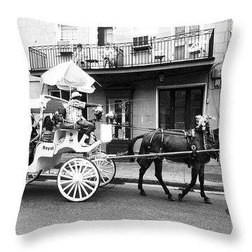 Mule And Buggy French Quarter New Orleans Throw Pillow by Thomas R Fletcher