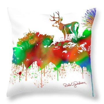 Mule Deer Buck Skyline Drip Pop Art II Throw Pillow