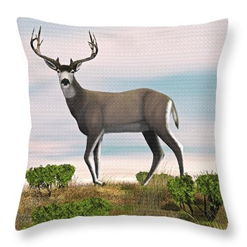Throw Pillow featuring the digital art Mule Deer Buck by Walter Colvin