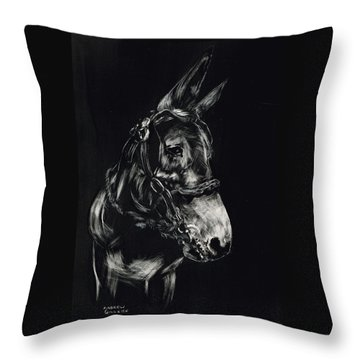 Mule Polly In Black And White Throw Pillow