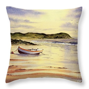 Throw Pillow featuring the painting Mull Of Kintyre Scotland by Bill Holkham