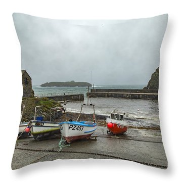 Throw Pillow featuring the photograph Mullion Cove Harbour by Brian Roscorla