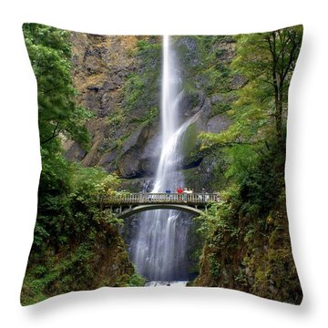 Multanomah Falls Throw Pillow by Marty Koch