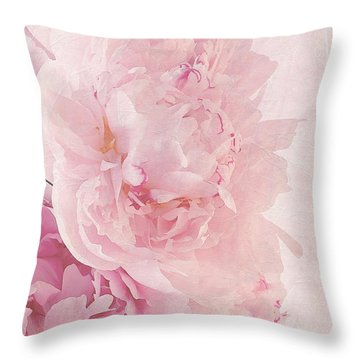 Artsy Pink Peonies Throw Pillow by Sandra Foster
