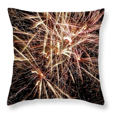 Throw Pillow featuring the photograph Multi Blast Fireworks #0721 by Barbara Tristan
