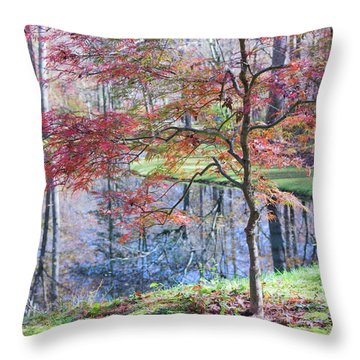 Multi Color Japanese Maple Throw Pillow